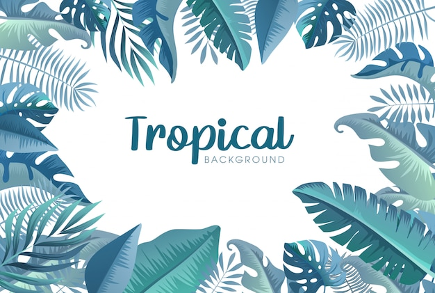 Summer tropical background with exotic palm leaves