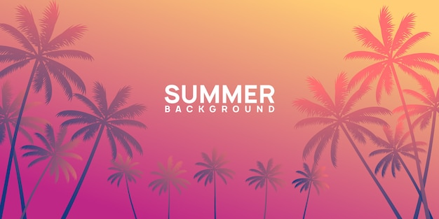 Summer tropical background with palm and sunset