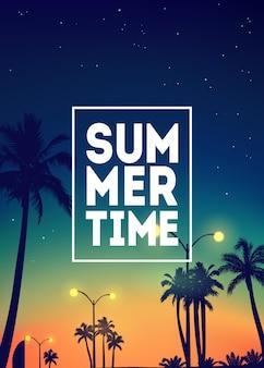 야자수, 하늘과 일몰 여름 열 대 배경. 여름 현수막 포스터 전단지 초대 카드입니다. 하계.