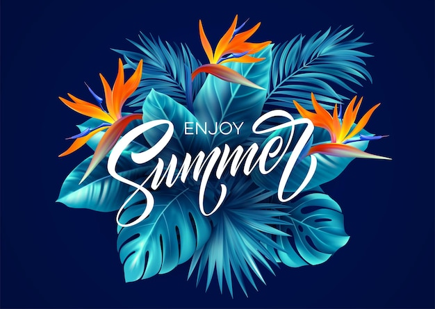 Summer tropical background with strelitzia flowers and tropical leaves