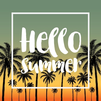 Summer tropical backgrounds with palms