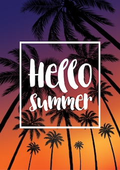 Summer tropical backgrounds with palms.