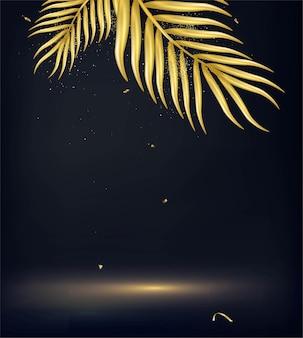 Летний тропический баннер декоративные золотые пальмовые листья на черном
