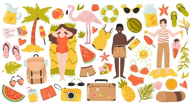 夏の熱帯のビーチ旅行休暇セット幸せなビキニの女の子観光カメラフラミンゴ