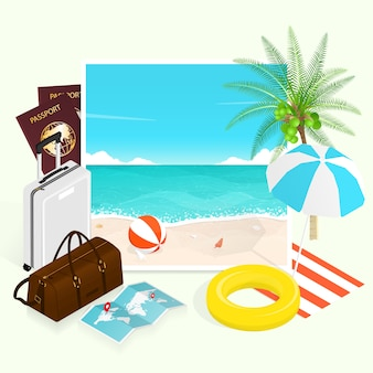 Summer tropical beach, vacation travel plan illustration elements composition