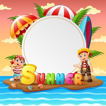 Summer tropical beach with happy pirate kids