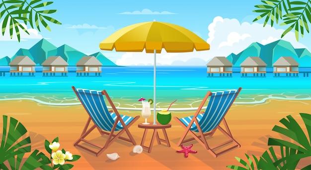 Летний тропический пляж с шезлонгами, столиком с коктейлями, зонтиком, горами и островами. приморский пейзаж, отдых на природе, побережье океана или моря.