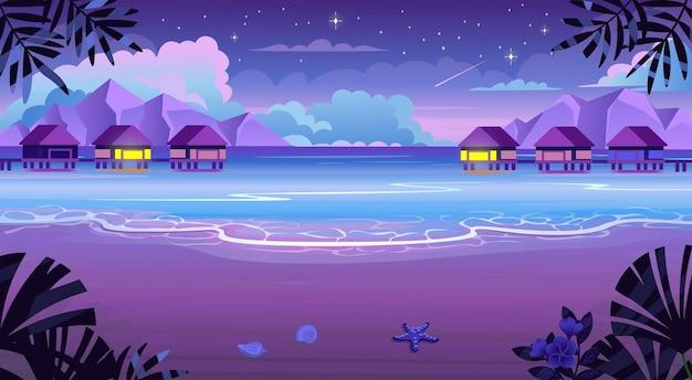 일광욕용 라운저가 있는 여름 열대 해변, 칵테일, 우산, 산, 섬이 있는 테이블. 해변 풍경, 자연 휴가, 바다 또는 바다 해변.