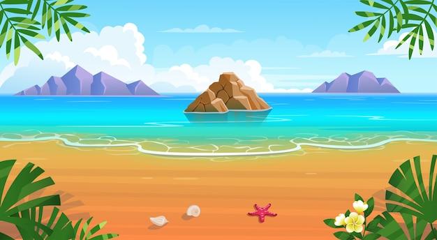 Летний тропический пляж с шезлонгами, столиком с коктейлями, зонтиком, горами и островами.