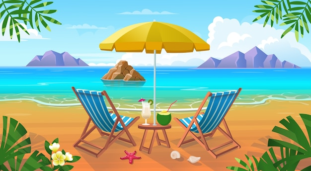 Summer tropical beach with sun loungers, table with cocktails, umbrella, mountains and islands.