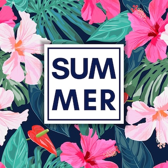 Summer tropical colorful background with exotic leaves and hibiscus flowers.