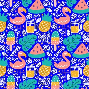 여름 열 대 낙서 좋은 느낌 플라밍고 몬스 테라 주스 수박 원활한 패턴
