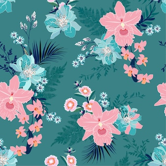 Summer tropical floral mood seamless vector pattern