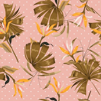 Summer tropical flower and leaves on polka dots pattern
