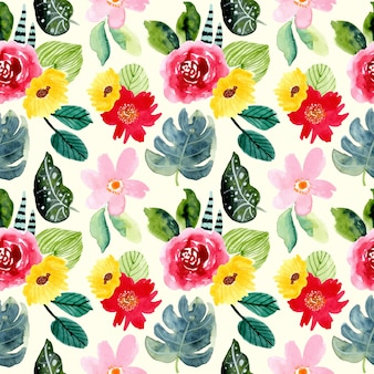 Summer tropical flower watercolor seamless pattern