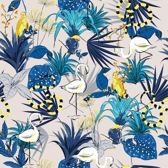 Summer tropical  flowers seamless vector forest pattern