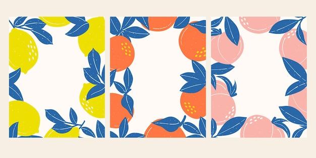 夏のトロピカルフルーツフレームの背景夏のフルーツフレームレモンオレンジと桃のフレーム