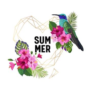 夏の熱帯ハチドリと花