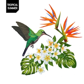 Summer tropical hummingbird and flowers