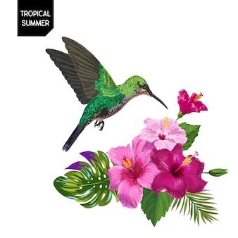 Summer tropical hummingbird and flowers