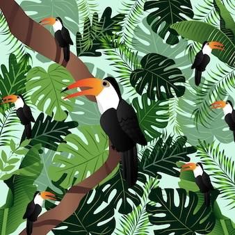Summer tropical illustration palm leaves birds vector image.