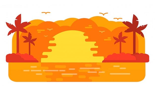 日没時の夏の熱帯の島