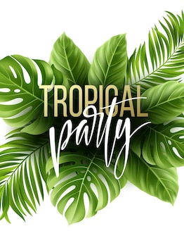 Summer tropical leaf background with exotic palm leaves. party flyer template.