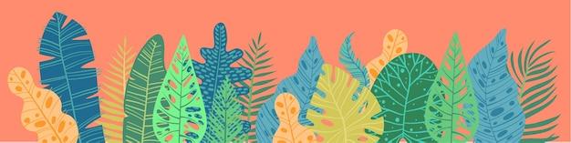 Summer tropical leaf banner, illustration
