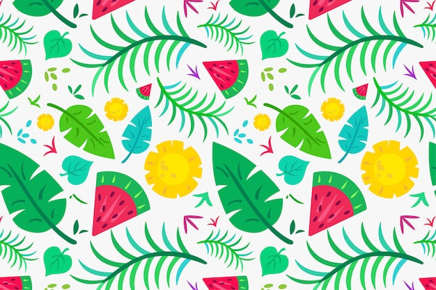 Summer tropical leaf and fruit pattern