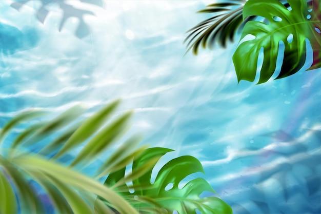 3dイラストで夏の熱帯の葉とスイミングプールの背景