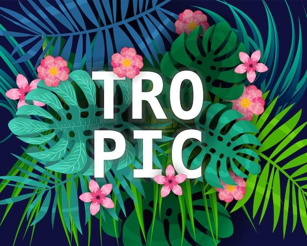 여름 열대 나뭇잎 이국적인 식물 팜 정글 잎. 어두운 배경 템플릿 배너에 추세 색상