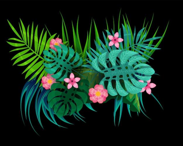 여름 열대 나뭇잎 이국적인 식물 팜 정글 잎.