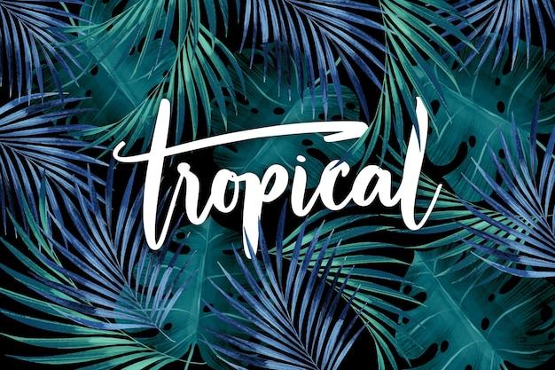 Summer tropical leaves lettering