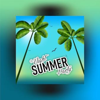 Summer tropical leaves - summer leaf frame, decorative summer tropical banner