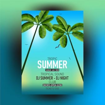Summer tropical leaves - summer leaf frame, decorative summer tropical poster template