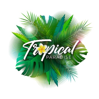 Summer tropical paradise illustration with exotic palm leaves