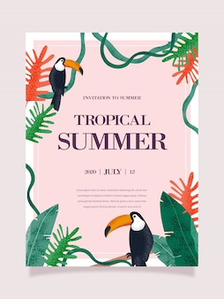 Summer tropical poster. tropical background illustration