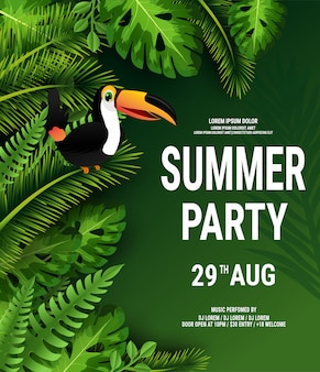 Summer tropical poster with dark green palm leaves and toucan