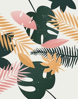여름 열대 인쇄 템플릿 배경 야자 나무 잎 자연 여름 시간 예술