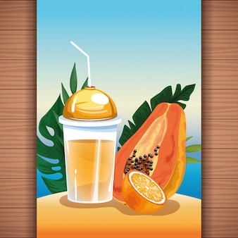 Summer tropical refreshment fruit juice