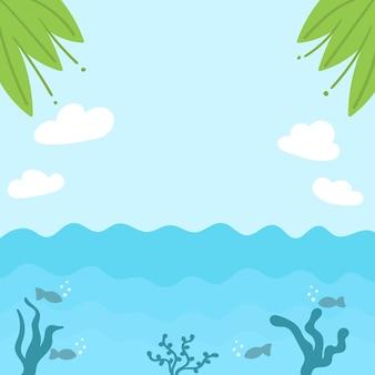 Летний тропический морской фон фон тропические листья облака голубое небо под водой