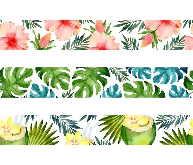 Summer tropical seamless borders watercolor template