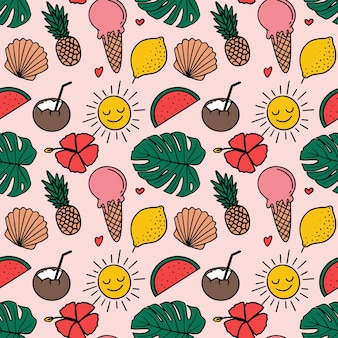Summer tropical seamless pattern in doodle style illustration
