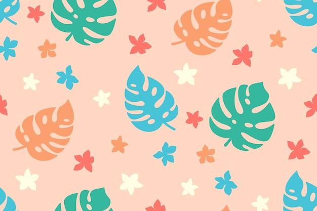 Летний тропический фон. экзотические обои, мультяшные листья и цветы. монстера, пальмы и полевые цветы. гавайские плоские растения джунгли розовый фон.