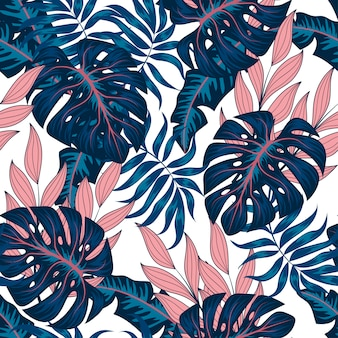 Summer tropical seamless pattern with blue and pink plants