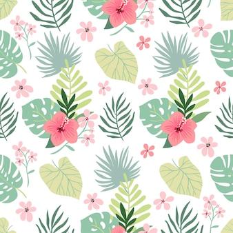 ハイビスカスと葉の夏のトロピカル シームレス パターン