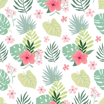 Summer tropical seamless pattern with hibiscus and leaves