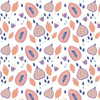 파파야와 무화과와 여름 열 대 완벽 한 패턴입니다. 직물, 포장지 또는 벽지를 위한 질감이 있는 과일 끝없는 디자인. 손으로 그린 스타일의 이국적인 과일 패턴