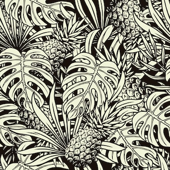 Summer tropical seamless pattern with pineapple, monstera and palm leaves in monochrome style
