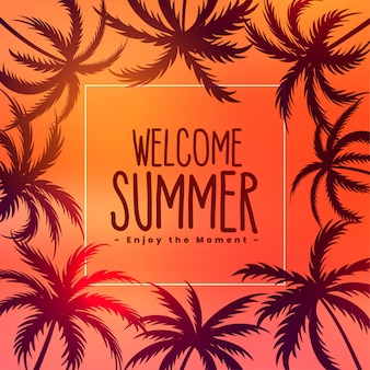 Summer tropical sunset background with palm trees